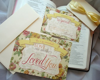 Love One Another - French Country Floral Wedding Invitation Set - Sample