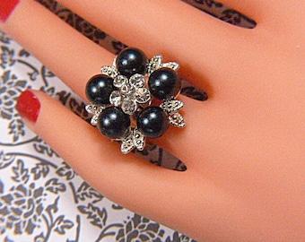 Vintage Black Bead and Rhinestone Ring -- Size Adjustable - R-369