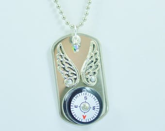 Compass Riveted Dog Tag Necklace