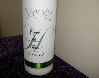 Personalized Unity Candle with Love Birds and green ribbon