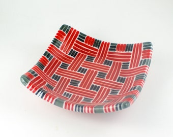 Decorative Glass Bowl, Unique Serving Dish, Basketweave Design, Black Red and White, Fused Glass, Dining Room Decoration, One of a Kind Gift