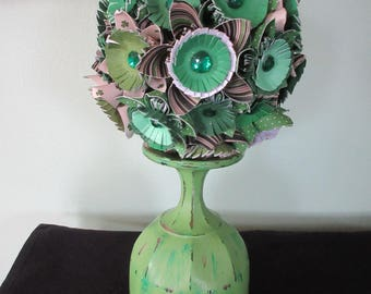 St Patrick's Day Kissing Ball/Origami Flower Ball/ Paper Flowers/ Green Distressed Goblet