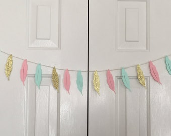 Feather Garland-Tribal Garland-Boho Garland-Boho Baby Shower-Feather Banner-tribal banner-Boho Banner-Feather Party-1st birthday-party decor
