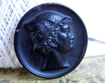 Vintage Large Black Glass Mercury Bust Picture Sewing Button