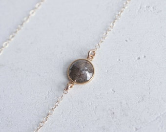 Asymmetrical Rustic Diamond Necklace   Round Rose Cut Diamond   14k Recycled Gold