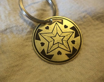 Star  Butterfly Etched Brass Keychain