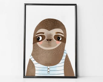 sloth decor, sloth wall art, sloth nursery decor, sloth nursery, sloth nursery print, sloth print, sloth wall decor, sloth nursery art