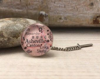 Personalized, Custom Map Tie Tack with Chain, Graduation, Dad Birthday, Groomsmen Gift
