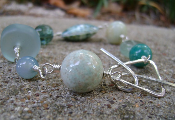AquaLinks - sterling silver, stone and glass bracelet - ready to ship