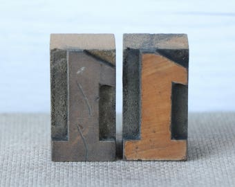 Vintage Wood Letterpress Block Number 1 - SOLD INDIVIDUALLY, Vintage Wooden Letterpress Number One, Vintage Typeset Number 1