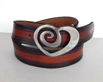 Spiral Heart Metal Belt Buckle by WATTO Distinctive Metal Wear