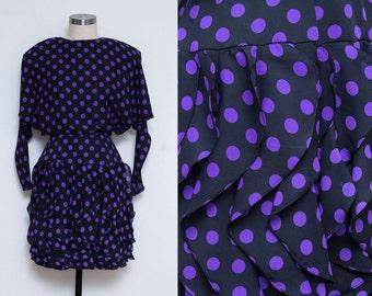 Ruffle Skirt Dress // Polka Dot Dress Dress // 1980s Purple Dolman Sleeve Long Sleeve Ruffled Skirt Party Cocktail Dress XS Size 4