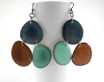 Denim Blue, Chocolate Brown, and Sky Blue Mosaic Trio Tagua Nut Eco Friendly Earrings with Free USA Shipping #taguanut #ecofriendlyjewelry