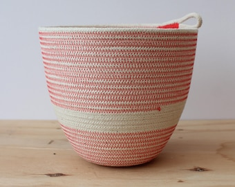 Cotton Rope Large Planter Bowl in Coral // Eco Gifts // Jungalow decor // rope vessel // houseplants