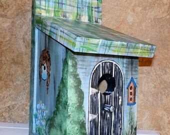 Hand Crafted Wood Birdhouse-Blue Plaid Bird House - Hand Crafted In The USA - Ready To Ship