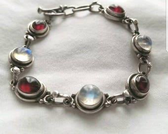 Moonstone & Amethyst Artisan Sterling Toggle Link Bracelet