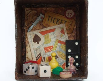 Assemblage Art Box - Found Object Art - Vintage Shadowbox - Games