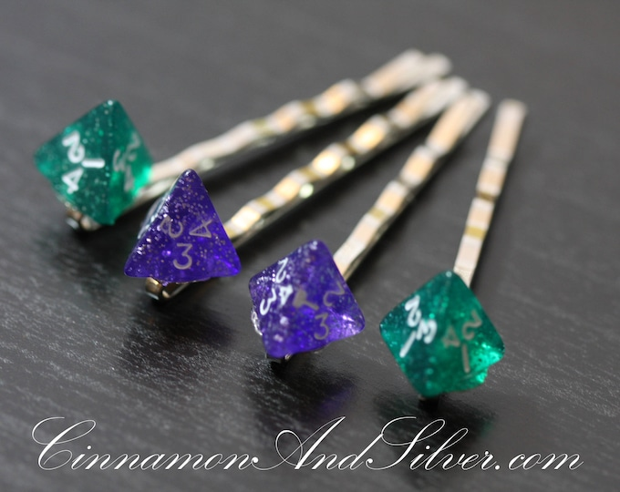 Purple and Green Gamer Dice Bobby Pins, Sparkle Dice Hair Accessory for Gamer Girls, D&D Roleplayer Dice Bobby Pins, Dice Hair Pins