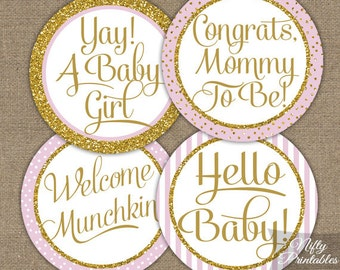 Girl Baby Shower Cupcake Toppers - Pink & Gold Glitter Instant Printable Party Circles - Pink Baby Shower Toppers or Favor Tags - PGL
