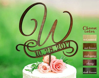 w cake topper, rustic monogram cake topper wedding, date wedding cake toppers, wooden cake topper, cake topper w, cake topper date, CT#255