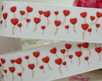 Ribbon grosgrain printed * 22 mm * balloon flight Hat heart - sold by the yard