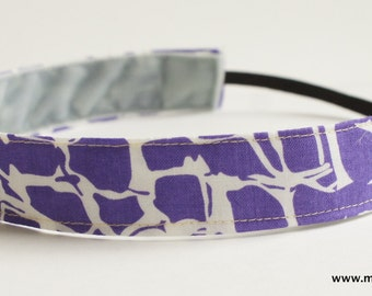 Purple and White Animal Print Geometric Fabric Headband, Non Slip Headband (Non Slip Velvet Lining)