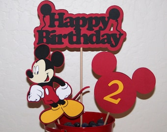 Mickey Mouse Centerpiece.  Black, Red and Yellow Birthday Celebration. Party Decoration, Centre Picks, Table Decoration, Partyware