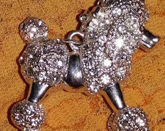 Swarovski 3D Crystal French Poodle Silver tone Necklace Pendant