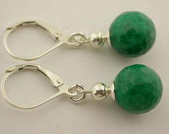 Green Agate Faceted Lever Back Sterling Silver Earrings