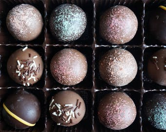 Premium Truffle Sampler  15 pc. box w/clear top