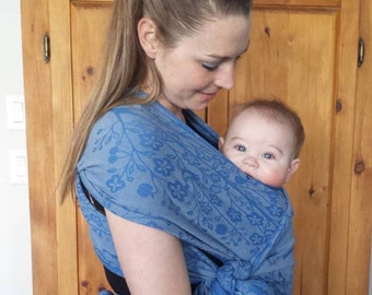 Baby wrap, Easy to use baby wrap, hybrid wrap, woven cotton jacquard, SALE, reversible,soft and floppy