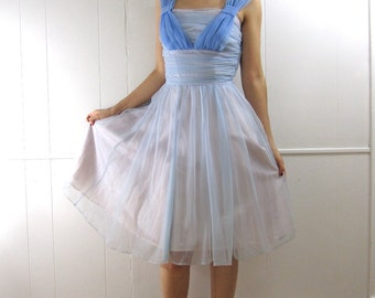 Vintage 50's Ruched Bodice Shelf Bust Illusion Cocktail Party Dress XS