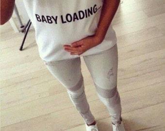 Baby Loading T-shirt Maternity Pregnancy Funny T-shirt