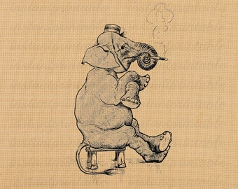Smoking elephant image, instant download, printable iron on fabric transfer, downloadable images, clip art, scrapbooking - no. 221