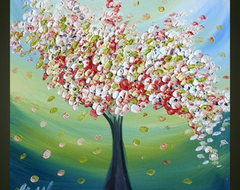 FLOWERING TREE Original Modern Abstract Palette Knife Oil Painting by Luiza Vizoli different sizes available