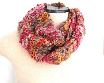 Hand Knit Infinity Scarf Pink Orange and Grey Scarf Women's Scarf Unique Handmade Girl's Scarf Knitted Scarf Handknit Scarf Circle Scarf