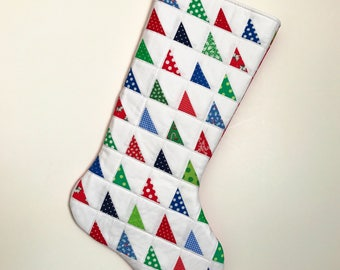 Christmas Stocking - Patchwork Quilted Christmas Stocking - Personalized Christmas Stocking - Quilted Christmas Stocking - Patchwork
