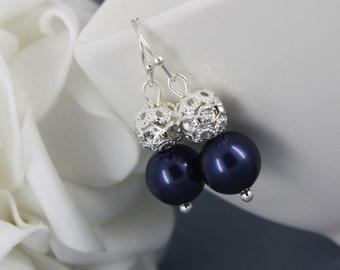 Bridesmaid Gift Navy Earrings Swarovski Earring Pearl Earrings Dangle Earrings Maid of Honor Gift Bridesmaid Earrings Wedding Earrings