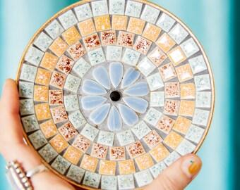 Vintage Small Mosaic Plate - Mid Century Tile Trinket Dish - Bohemian Decor
