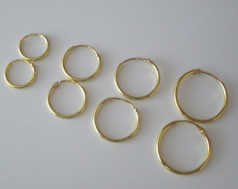 9ct Gold Plated on Sterling Silver Pair of Hinged Hoop Sleeper 9k Earrings Select 11mm 13mm 15mm or 18mm