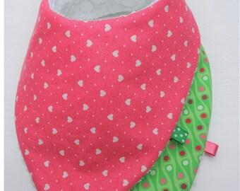 2 (Theme green and pink) bandana bibs