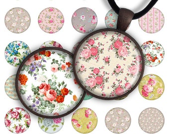 75% OFF SALE Digital Collage Sheet Shabby Flowers 1inch Round 25mm Circle Pendant Printable Download PC020 Instant Download Jewelry Making