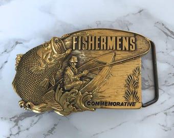 Vintage Men's Belt Buckle Fishermens Commemorative Solid Brass 1984 Baron Buckle Limited Edition