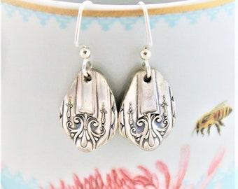 Spoon Jewelry Silverware Earrings ~ Sterling Silver Ear Wires, Keepsake Gift & Ready To Ship ~ Gift Under 30