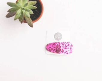 Pink Glitter Hair Clip - Glitter Snap Clip in Pink