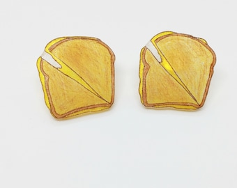 Grilled Cheese Earrings Cheese Lover Cheese Toast Foodie Jewelry Faux Food Mini Toasts Carb Lover Funny Gift For Mom Cheesy Accessory Cook