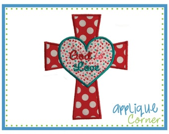 373 God is Love Cross Valentine's Day applique design in digital format for embroidery machine by Applique Corner
