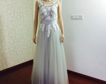 Custom Handmade Lace Tulle Wedding Dress