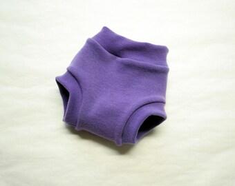 interlock soaker - hand dyed merino wool diaper cover - PLUM - super soft custom order rebourne pull up cover