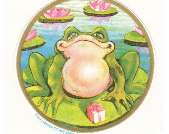 Vtg 80's Illuminations Sticker Frog on Lily Pad